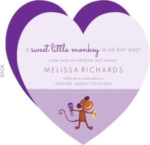 Purple Girls Monkey Baby Shower Invite
