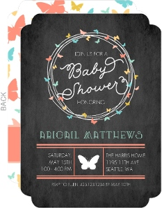 Butterfly Wreath Baby Girl Shower Invitation