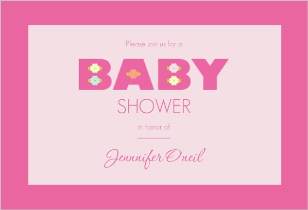 bold pink baby girl shower invitation girl baby shower invitations