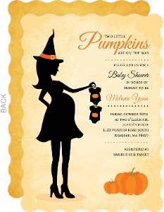 Pumpkin Witch Silhouette Halloween Twins Baby Shower Invitation