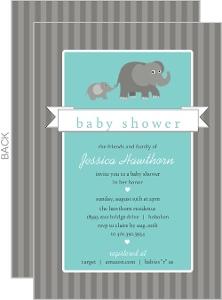 Gray Elephants Baby Shower Invitation