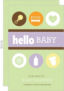 Baby Icons Neutral Baby Shower Invitation