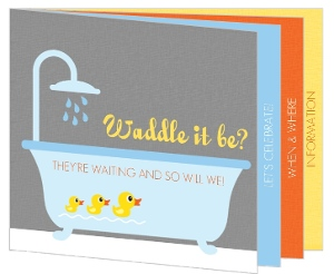 Rubber Ducky Themed Gender Neutral Baby Shower Invitation