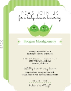Green Tan Peas In A Pod Twins Shower Invite
