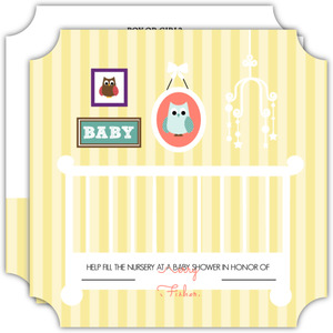 Yellow Striped Owl Nursery Baby Shower Invitation