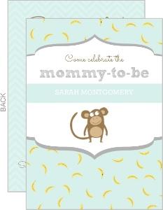 Mint Monkey Baby Shower Invitation