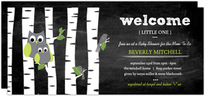 Chalkboard Birds And Owls Baby Shower Invitation