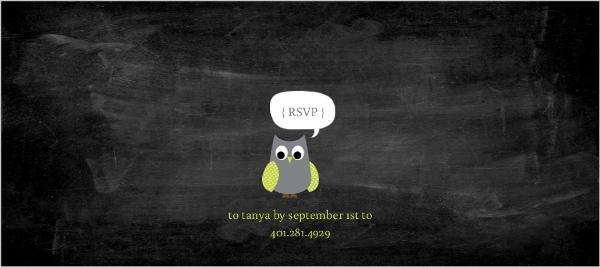 Chalkboard Birds and Owls Baby Shower Invitation