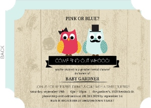 Vintage Who Will It Be Owl Gender Reveal Baby Shower Invitation