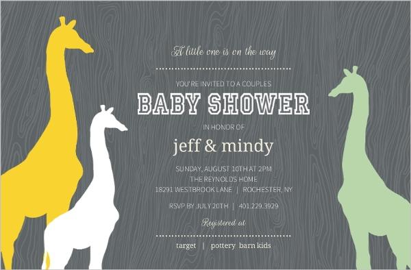 Gray Woodgrain Giraffe Safari Couples Baby Shower Invitation
