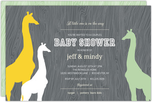 Gray Woodgrain Giraffe Safari Couples Baby Shower Invitation
