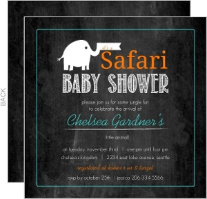 Chalkboard Elephant Safari Baby Shower Invitation