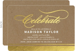 Gold Foil Celebrate Kraft 30th Birthday Invitation