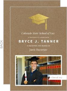 Gold Foil Grad Cap Law School Graduation Announcement