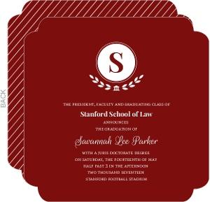 Red Elegant Laurel Wreath Monogram Law School Graduation Invitation