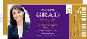 Ticket Stub Law School Graduation Invitation