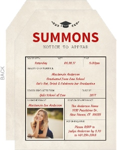 summons notice law school graduation invitation - Law School Graduation Invitations