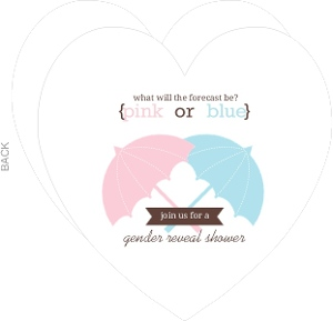 Pink And Blue Umbrellas Gender Neutral Baby Shower Invitation