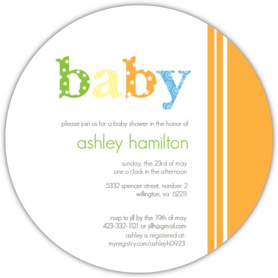 Orange Striped Gender Neutral Baby Shower Invite
