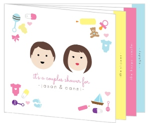 Personalized Faces Couples Shower Booklet