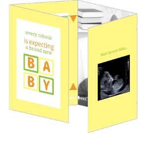 Yellow and Green Baby Blocks Birth Announcement