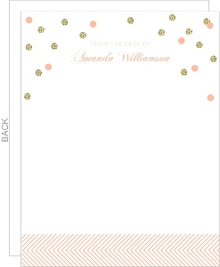 Faux Glitter Pink Confetti Blank Stationery