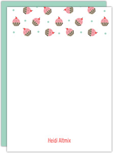 Cute Rustic Cupcakes Blank Stationery