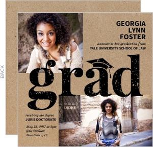 Kraft Grunge Law School Graduation Invitation