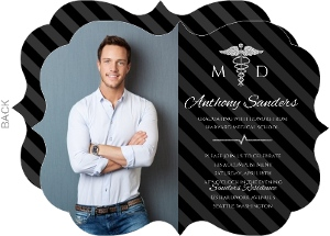 Black & Faux Silver Glitter Medical School Graduation Invitation