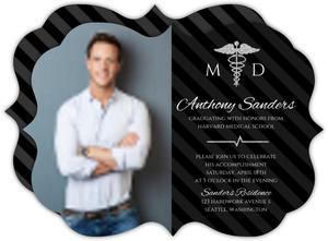 Black & Faux Silver Glitter Medical School Graduation Invitation