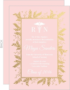 Pink & Gold Foil Foliage Nursing School Graduation Invitation