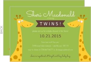 Green Giraffe Twin Shower Invitation