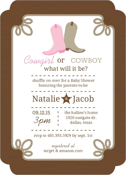 rustic country boots gender neutral baby shower invitation, Baby shower invitations