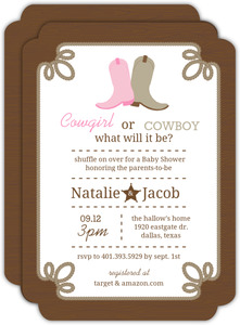 Rustic Country Boots Gender Neutral Baby Shower Invitation