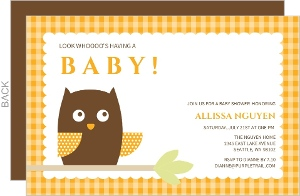 Orange Owl Baby Shower Invite