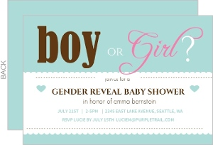 Turquoise Boy Or Girl Baby Shower Invite