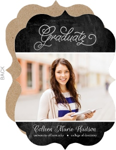 Chalkboard Silver Foil Dentist Graduation Invitation