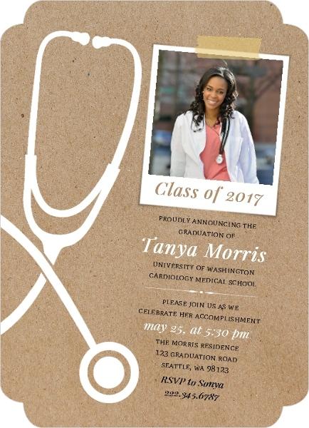 unique kraft stethoscope medical school graduation announcement - Unique Graduation Invitations