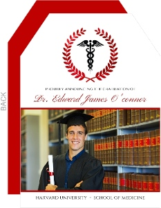 Elegant Red Foil Wreath Medical School Graduation Announcement