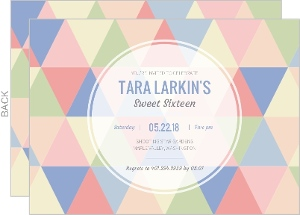 Modern Pastel Geometric Pattern Sweet Sixteen Invitation
