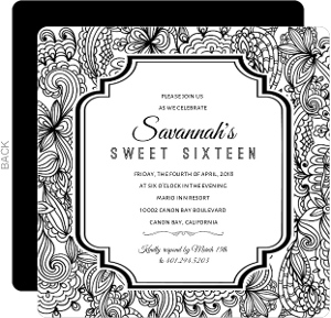 Black and White Lace Sweet Sixteen Invitation