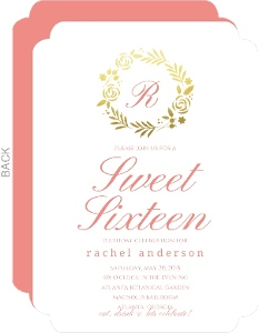 Classic Pink Gold Foil Wreath Sweet Sixteen Invitation