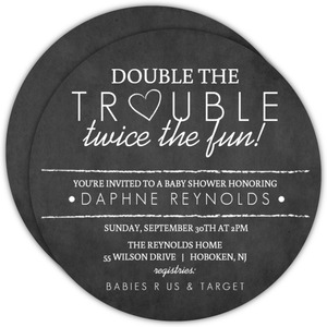 Chalk Double Trouble Twins Shower Invite