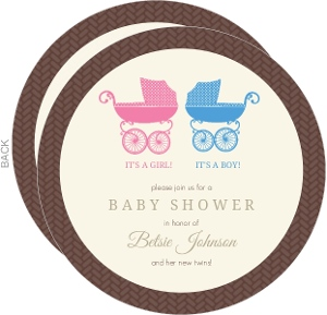 Blue And Pink Pram Twins Shower Invite