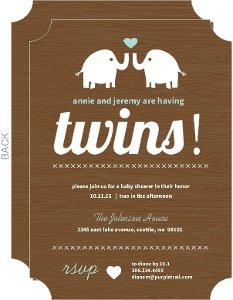 Two Elephants Twins Shower Invitation
