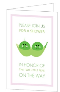 Two Little Peas  Twin Shower Invite