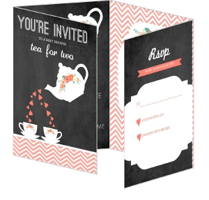 Tea For Two Twins Baby Shower Invitation