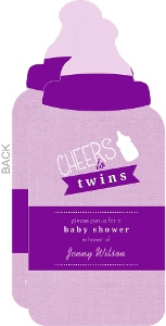Purple Bottles Twin Baby Shower Invitation
