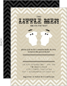 Chevron Gentleman Mustache Onesie Twin Baby Shower Invitation