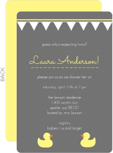 Gray with Yellow Ducks Twins Baby Shower Invite